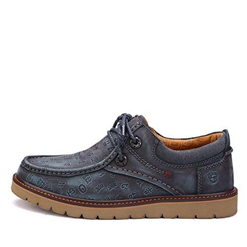 Prossebull Mens Business Casual Chaussure En Cuir (eur 43, Marron) Bleu