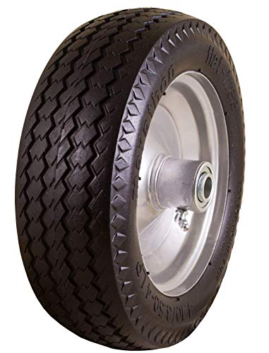 Marathon 4.10/3.50-4″ Flat Free, All Purpose Utility Tire on Wheel, 3.5″ Centered Hub, 5/8″ Bearings