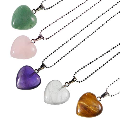 (LPBeads 5 Pieces Heart Shape Natural Stone Necklace Chakra Beads Charms Crystal Heading Chakra Stone Pendants Assorted Color)