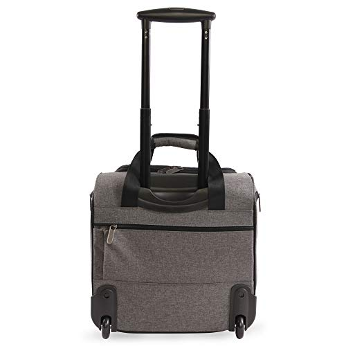 41wUlaTIqUL - ORIGINAL PENGUIN Men's Ethan Wheeled Under The Seat Carry On Bag, Grey Crosshatch