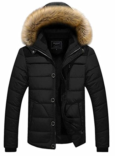today Quilted Outwear Jacket Hooded Puffer UK Fur Black Faux Jacket Winter Men's Collar 14YPq1wr