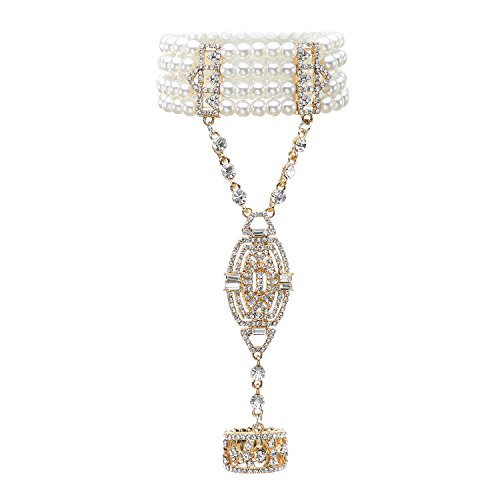 (Metme 1920s Gatsby Accessories Imitation Pearls Rhinestone Bracelet Adjustable Ring Set)