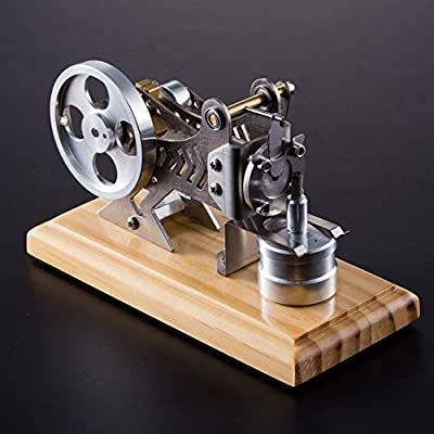 PeleusTech Stirling Engine Model Solid Wood Baseplate All Metal Stirling Engine Generator for Adults: Toys & Games
