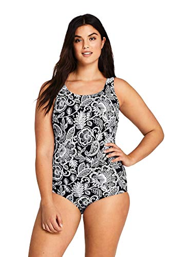 (Lands' End Women's Plus Size Tugless One Piece Swimsuit Soft Cup Print)
