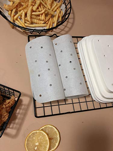 Square Air Fryer Parchment Paper Liners 200Pcs Perforated Parchment Filter Paper Accessories Unbleached for Air Fryer, Steaming Basket,Bamboo Steamer,No Burn, Easy Cleanup (7.5in, White)