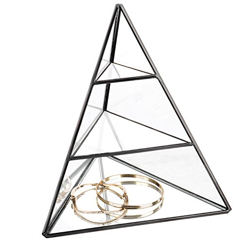 MyGift 3-Tier Glass Pyramid Jewelry Stand Display Case with Vintage Style Black Metal Frame ()