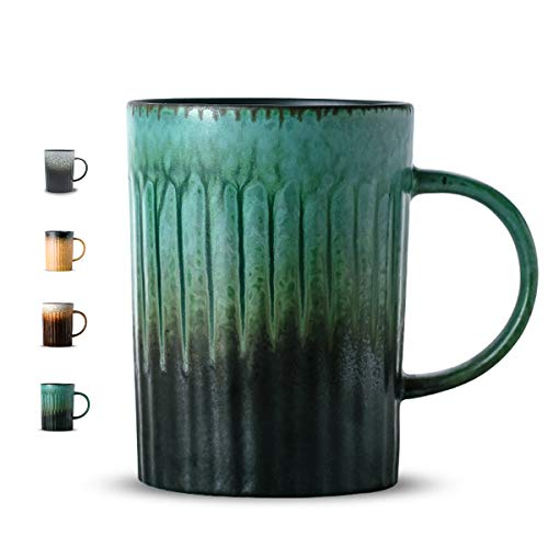 Handmade Porcelain Ceramic Coffee Mug-LIITA 17 oz Natural Gradual Matte Retro Clay Cup with Gift Box, for Mug Collectors(BG)-St.Patrick's Day -