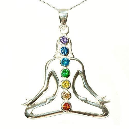 Colgante Yoga 7 chakras Plata de Ley - Colgante amuleto ...