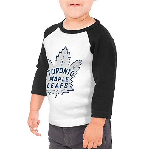 (Hockey-Logo-Toronto-Maple-Leafs Unisex Toddler Baseball Jersey Contrast 3/4 Sleeves Tee 5/6T Black)