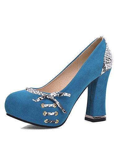 ZQ Zapatos de mujer-Tac¨®n Robusto-Tacones / Punta Redonda-Tacones-Oficina y Trabajo / Casual-Vell¨®n-Negro / Azul / Rojo , red-us10.5 / eu42 / uk8.5 / cn43 , red-us10.5 / eu42 / uk8.5 / cn43 red-us7.5 / eu38 / uk5.5 / cn38