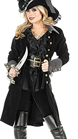 Women's XS Teen 3-5 Black Pirate Costume Long Jacket Coat