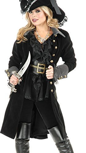 Women's XL 14-16 Black Pirate Vixen Costume Long Jacket Coat ()