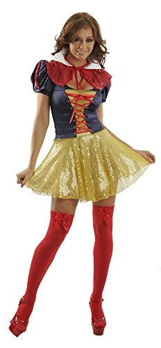 Sexy Adult Halloween Theme Cosplay Rave Party Disney Princess Fairytale Storybook Snow White Costume for Women M (7-9) Print Shown