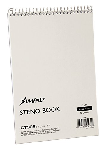 Ampad 25472 6 x 9- White Gregg Rule Spiral Steno Book 70 Sheets