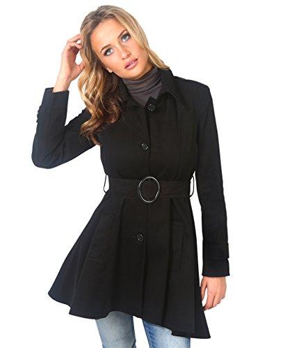 KRISP Femme Manteau Classique Chic Elgant Trench Coton Noir (3091)