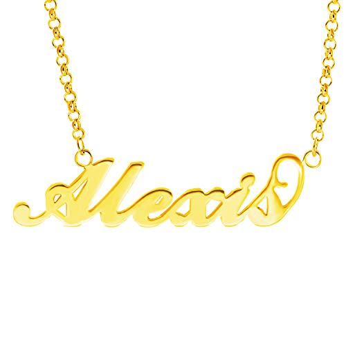 HACOOL Name Plate Necklace Custom Name Necklace Customized Necklace with Any Names in 14K Gold/Silve/Rose Gold Jewelry for Women Alexis in Gold ()