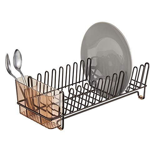 mDesign Compact Modern Kitchen Countertop, Sink Dish Drying Rack, Removable Cutlery Tray - Drain and Dry Wine Glasses, Bowls and Dishes - Metal Wire Drainer in Bronze with Amber Brown Caddy ()