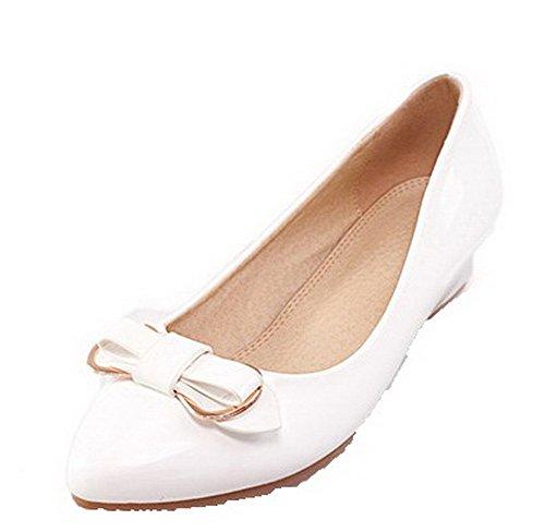 Damen Ziehen auf PU Leder Rund Zehe Niedriger Absatz Rein Pumps Schuhe, Pink, 39 VogueZone009