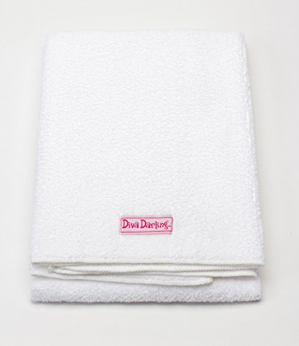 Diva Darling, Easy To Use & Super Absorbent Microfiber Hair Towel, White (19 x 39-Inches) (Diva Dryer Hair Towel)