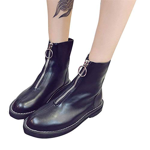 Retro Anteriore Deed 36 's Short 38 Con Testa Eu nero Zipper Donna Da Scarponcini Eu Rotonda E Tacco Boots' vqrvYR6