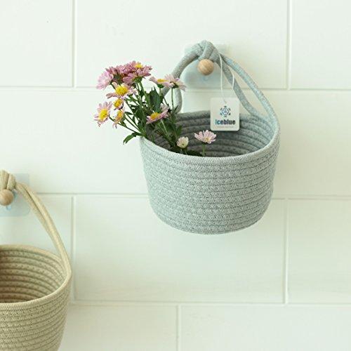- ICEBLUE 6''X4.5''Grey Round Cotton Rope Over Wall Door Closet Window Hanging Storage Basket