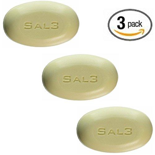 3 Pack - SAL3 Soap - 3% Salicylic Acid, 10% Sulfur - Special Wash: Acne, Dandruff, Dermatitis, Smelly Scalp, Keratosis Pilaris, Tinea Versicolor, Oily Skin, Anti Fungal, Rosacea, Psoriasis, - Acid Sulfur Shampoo Salicylic
