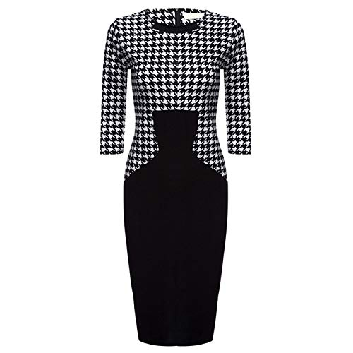(Factory Direct Cross-Border Dress Houndstooth Stitching Sleeves Pencil Skirt,Black,M)