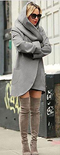 Lunghi Con Tasca Cappuccio Elegante Cardigan Kimono Coat Moda Cappotto Con Forti Del Trench Grigio scuro Casuale Cardigan Donna Taglie Sweatercoat Knit Colore Outwear Allentato Puro Da Cerimonia HpHnqER7
