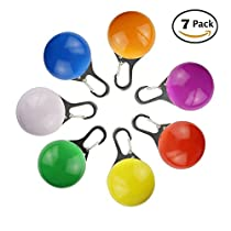 Aidle Pet Clip-On Collar LED Lights, Colorful Circular Pendant Collar Safety Night Light Dog Cat Battery Included (Pack of 7)