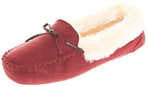 Fur Slipper Lined Collar W Laced Wine Floopi Moccasin Memory Brown Faux Womens Foam Indoor 307 Outdoor qvx44w1If