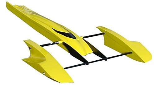 (Tobsd 33 Inch Yellow Poseidon Fibreglass Outrigger Rc Boat Hull Hydroplane Kit Hydro)