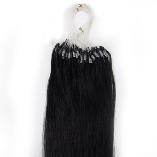 18'' Remy Loops Micro Rings Beads Tipped Human Hair Extensions 17colors for Your Best Selection (#01-jet black)