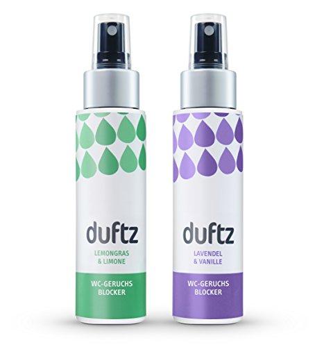 duftz® Bundle 2 Sorten WC Geruchsblocker für den Toilettengang, Mindestens 200 Anwendungen, 2 x 75ml,