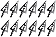Feyachi Hunting Broadheads 12 Pack Fixed Blade Broad Head 100 Grain Archery Arrow Tips for Crossbow and Compou