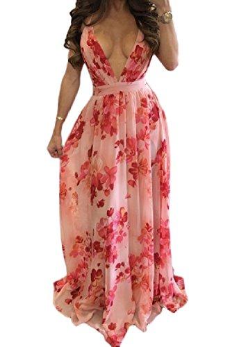 Croce Chiffon Aperta Fionda Vestito Rosa Indietro Length donne Coolred Full Elastico Stampa 1YTXXw