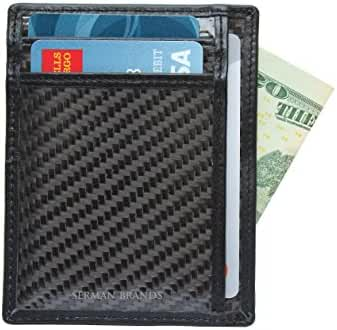 SERMAN BRANDS - RFID Blocking Leather Slim Wallet, Minimalist Front Pocket Wallets For Men Credit Card Holder Made From Genuine Carbon Fiber
