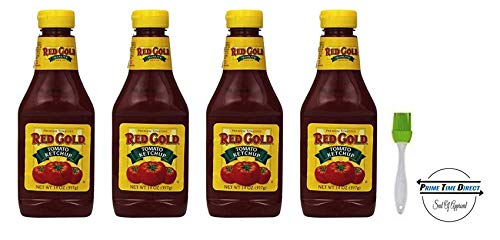 (Red Gold Tomato Ketchup Squeeze Bottle 14 Ounces (Pack of 4) with Silicone Basting Brush in a Prime Time Direct Sealed Bag)