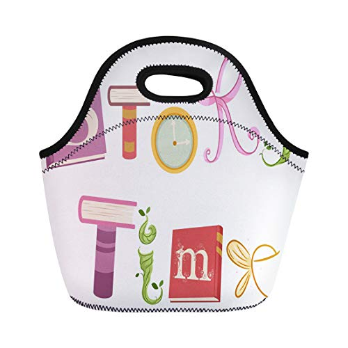 Semtomn Lunch Tote Bag Whimsical Featuring Vines Ribbons Wings and Storybooks That Spell Reusable Neoprene Insulated Thermal Outdoor Picnic Lunchbox for Men Women