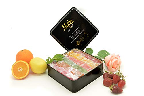 Mix Plain Turkish Delight Tin Box (No Nuts) - 5 different flavors: Rose, Strawberry, Lemon, Orange & Mint - 100 Pcs Approx. (Gift Basket Tin Box 3 Pounds, 48 - Tin Box Gum