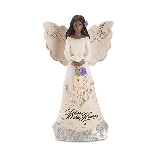 Pavilion Gift Company Bless This Home 6 Inch Ebony Angel Figurine