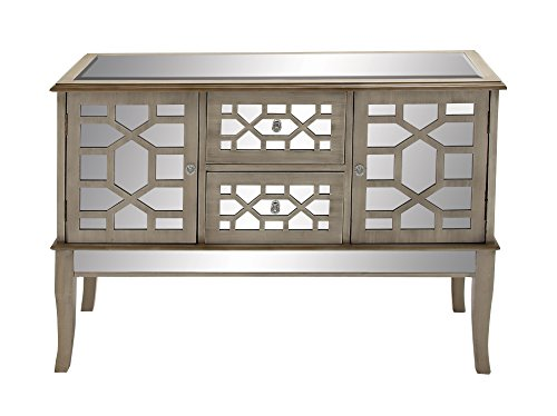(Deco 79 48518 Rectangular Textured White & Mirrored Chest with Geometric Design Over 2 Drawers & 2 Cabinets, 48