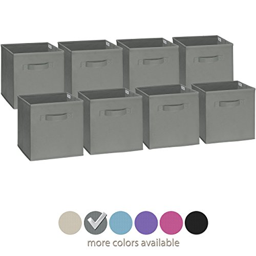 Collapsible Storage Bins (Royexe Set of 8 Foldable Fabric Storage Cube Bins | Collapsible Cloth Organizer Baskets Containers | Folding Nursery Closet Drawer | Features Dual Handles | More Beautiful Colors Available  (Grey))