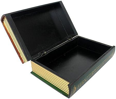 Diseño de libro de réplica de caja de madera caja de almacenaje con diseño de colección de caja de acero inoxidable, large: Amazon.es: Hogar