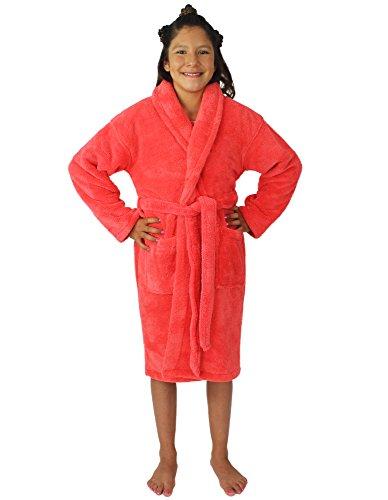 - Kids Plush and Soft Fleece Shawl Bathrobe for Girls and Boys (Coral, Medium)