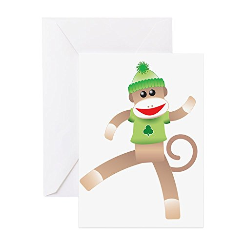 (CafePress - Patricks Sock Monkey - - Greeting Card (10-pack), Note Card with Blank Inside, Birthday Card Glossy)