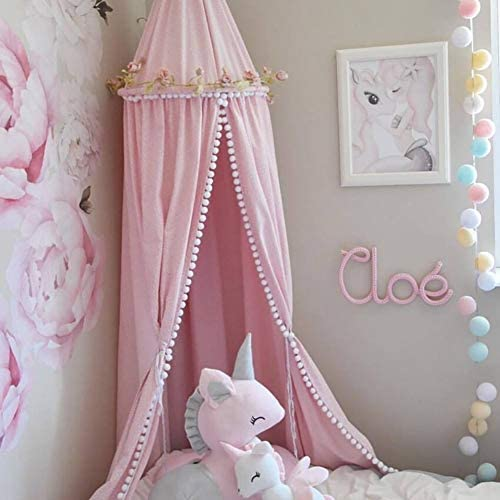 XIYAO Kids Bed Canopy with Pom Pom Hanging Mosquito Net for Baby Bed,Princess Round Dome Indoor Outdoor Castle Play Tent House Decoration Reading Nook Cotton Canvas Prince