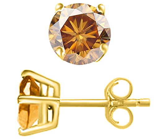 Brown Yellow Earrings - 1.41 Ct Brilliant Round Cut Brown Moissanite Stud Earrings In 14K Solid Yellow Gold
