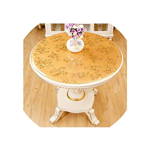 Round tablecloths Waterproof Oil-Proof PVC Round Coffee Table mat Insulation Gold Flower Plastic Soft 90cm Table Cover,Rich Flowers,70cm Round