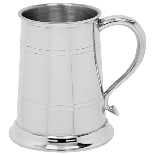 English Pewter Company 1 Pint Straight 2 Line Pewter Beer Mug Tankard With Swan Neck Style Handle [EP004]
