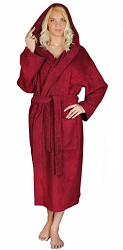 Arus Women's Classic Hooded Bathrobe Turkish Cotton Terry Cloth Robe (S/M,Burg.) -